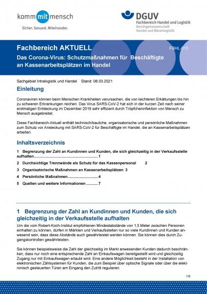 """FBHL-015 """"Das Corona-Virus: Schutzmaßnahmen für Beschäftigte an Kassenarbeitsplätzen im Handel"""""""
