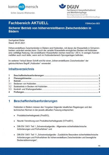 """FBWoGes-003 """"Sicherer Betrieb von höhenverstellbaren Zwischenböden in Bädern"""""""