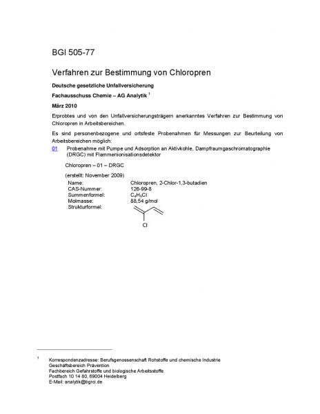 Verfahren zur Bestimmung von Chloropren