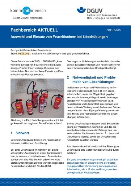 """FBFHB-025 """"Auswahl und Einsatz von Feuerlöschern bei Löschübungen"""""""