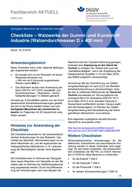 """FBRCI-001 """"Checkliste - Walzwerke der Gummi- und Kunststoffindustrie (Walzendurchmesser D kleiner 40"""