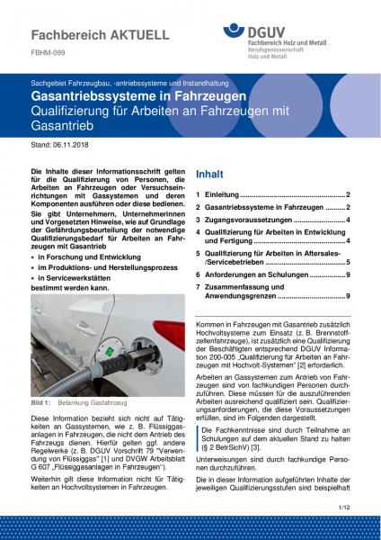 """FBHM-099 """"Gasantriebsysteme in Fahrzeugen - Qualifizierung für Arbeiten an Fahrzeugen mit Gasantrieb"""