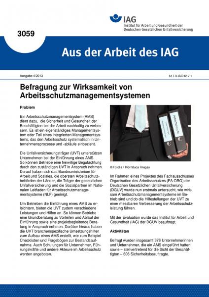 Befragung zur Wirksamkeit von Arbeitsschutzmanagementsystemen. Aus der Arbeit des IAG Nr. 3059
