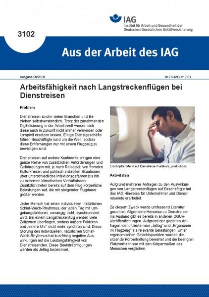 Arbeitsfähigkeit nach Langstreckenflügen bei Dienstreisen (Aus der Arbeit des IAG 3102)