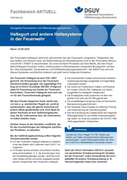 """FBFHB-022 """"Haltegurte und andere Haltesysteme in der Feuerwehr"""""""