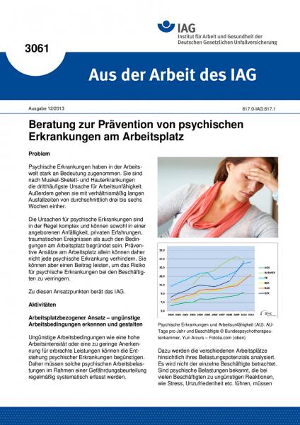Beratung zur Prävention von psychischen Erkrankungen am Arbeitsplatz(Aus der Arbeit des IAG Nr. 306