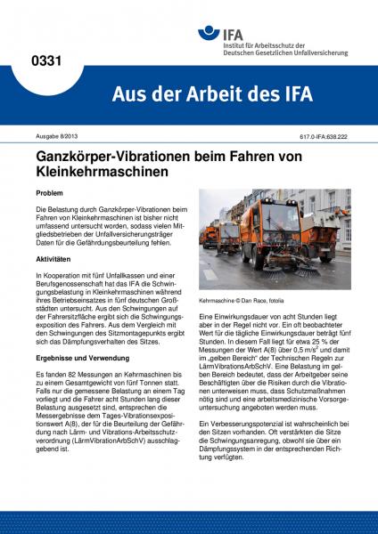 Ganzkörper-Vibrationen beim Fahren von Kleinkehrmaschinen. Aus der Arbeit des IFA Nr. 0331