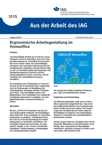 Ergonomische Arbeitsgestaltung im Homeoffice (Aus der Arbeit des IAG 3115)