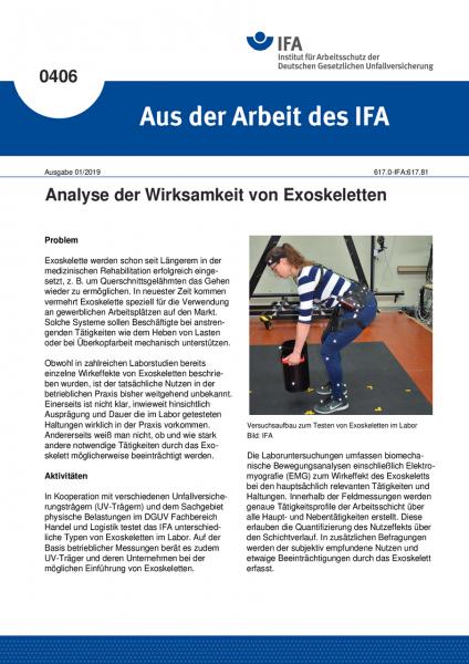 Analyse der Wirksamkeit von Exoskeletten (Aus der Arbeit des IFA Nr. 406)