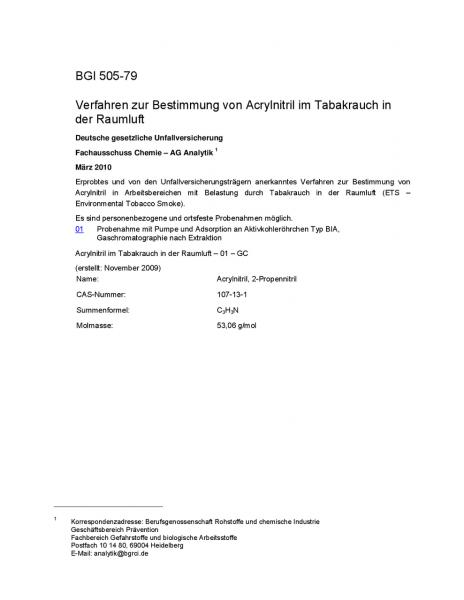 Verfahren zur Bestimmung von Acrylnitril im Tabakrauch in der Raumluft