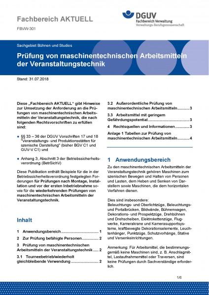 """FBVW-301 """"Prüfung von maschinentechnischen Arbeitsmitteln der Veranstaltungstechnik"""""""