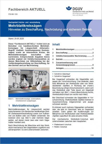 """FBHM-108 """"Mehrblattkreissägen, Hinweise zu Beschaffung, Nachrüstung und sicherem Betrieb"""""""