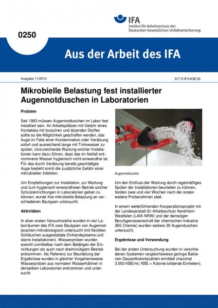 Mikrobielle Belastung fest installierter Augennotduschen in Laboratorien. Aus der Arbeit des IFA Nr.