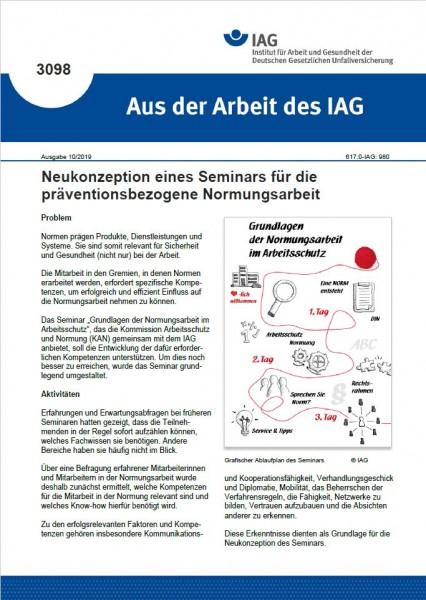 Neukonzeption eines Seminars für die präventionsbezogene Normungsarbeit (Aus der Arbeit des IAG 3098
