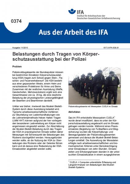 Belastungen durch Tragen von Körperschutzausstattung bei der Polizei (Aus der Arbeit des IFA Nr. 037