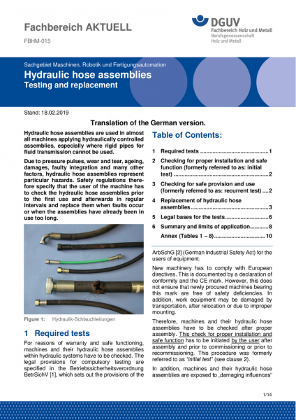 "FBHM-015 ""Hydraulic hose assemblies - Testing and replacement"""