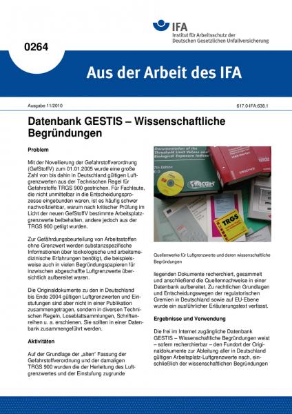 Datenbank GESTIS - Wissenschaftliche Begründungen. Aus der Arbeit des IFA Nr. 0264
