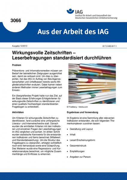 Wirkungsvolle Zeitschriften – Leserbefragungen standardisiert durchführen (Aus der Arbeit des IAG Nr
