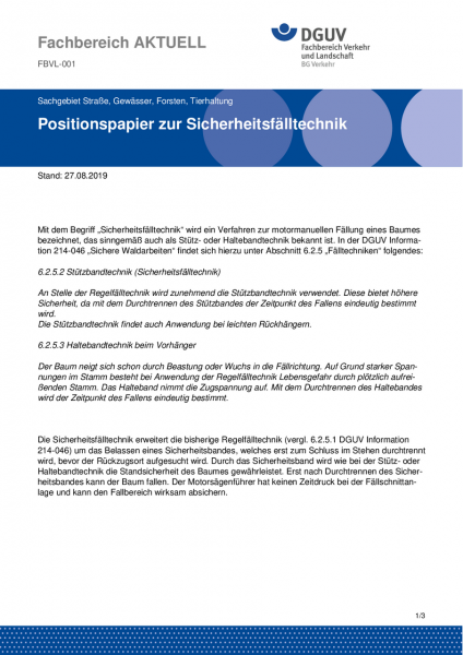 """FBVL-001 """"Positionspapier zur Sicherheitsfälltechnik"""""""