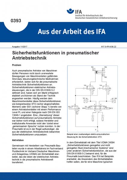 Sicherheitsfunktionen in pneumatischer Antriebstechnik (Aus der Arbeit des IFA Nr. 0393)