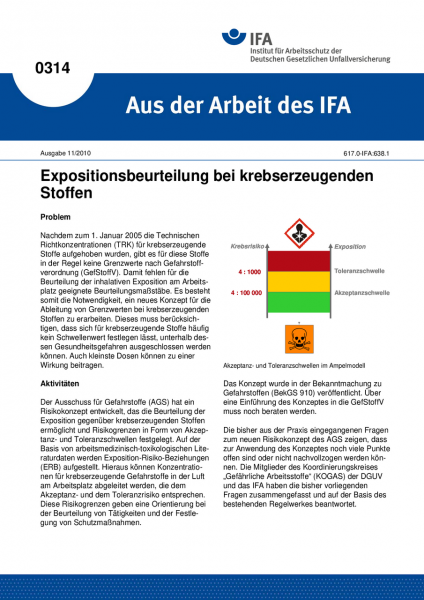 Expositionsbeurteilung bei krebserzeugenden Stoffen. Aus der Arbeit des IFA Nr. 0314