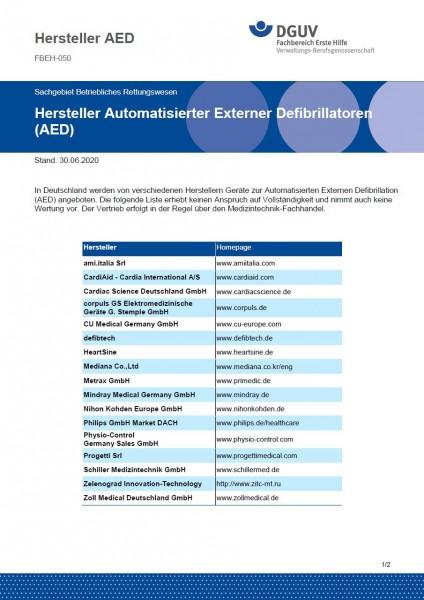"""FBEH-050 """"Hersteller Automatisierter Externer Defibrillatoren AED"""""""