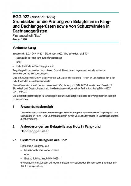 Grundsätze für die Prüfung von Belagteilen in Fang- und Dachfanggerüsten sowie von Schutzwänden in D