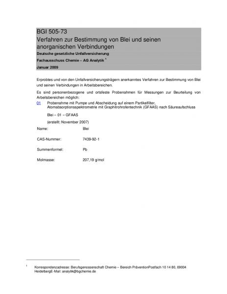 Verfahren zur Bestimmung von Blei und seinen anorganischen Verbindungen