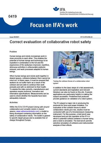 Correct evaluation of collaborative robot safety (Focus on IFA works No. 0419)