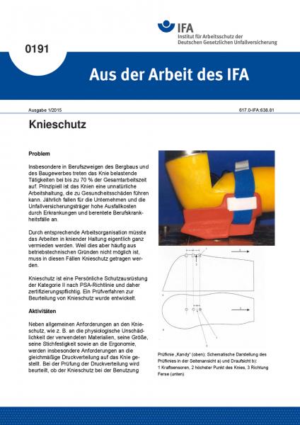 Knieschutz. Aus der Arbeit des IFA Nr. 0191