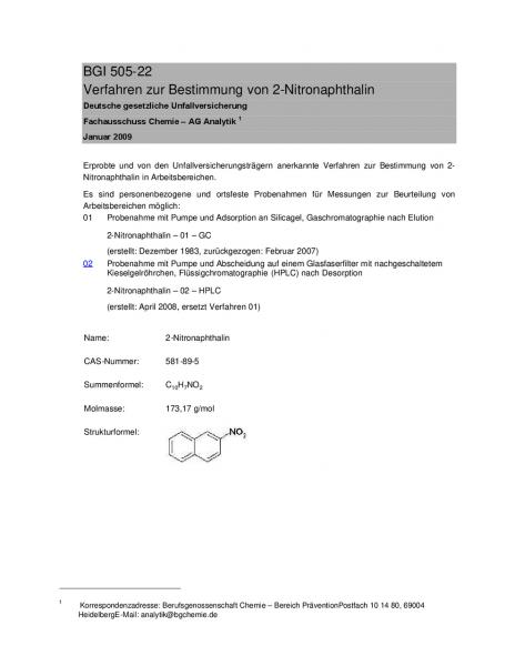 Verfahren zur Bestimmung von 2-Nitronaphthalin