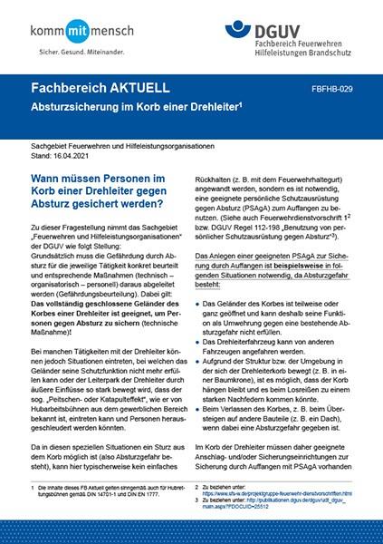 """FBFHB-029 """"Absturzsicherung im Korb einer Drehleiter"""""""