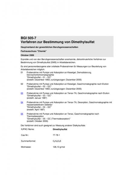 Verfahren zur Bestimmung von Dimethylsulfat