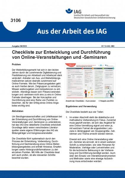 Checkliste zur Entwicklung und Durchführung von Online-Veranstaltungen und -Seminaren (Aus der Arbei