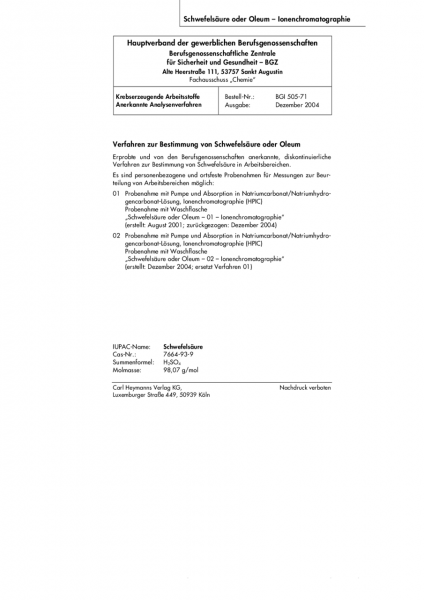 Verfahren zur Bestimmung von Schwefelsäure oder Oleum