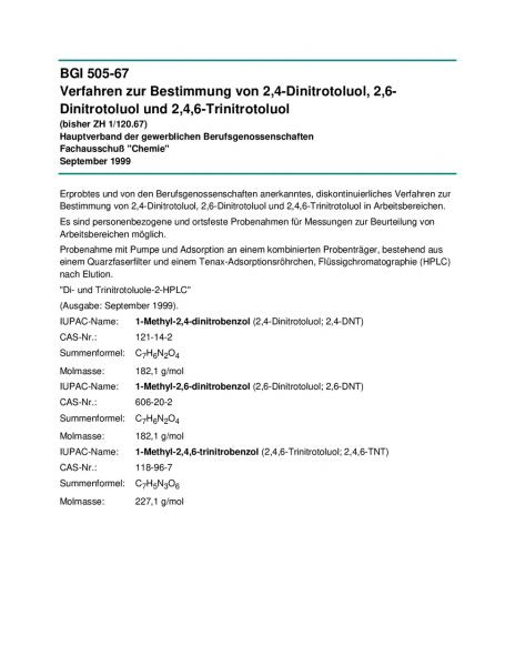 Verfahren zur Bestimmung von 2,4-Dinitrotoluol, 2,6-Dinitrotoluol und 2,4,6-Trinitrotoluol