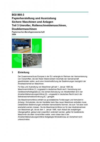 Papierherstellung und Ausrüstung Sichere Maschinen und Anlagen - Teil 3 Umroller, Rollenschneidemasc
