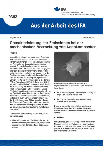 Charakterisierung der Emissionen bei der mechanischen Bearbeitung von Nanokompositen (Aus der Arbeit
