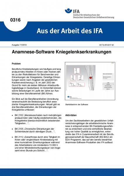 Anamnese-Software Kniegelenkserkrankungen. Aus der Arbeit des IFA Nr. 0316