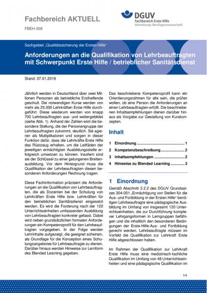 """FBEH-008 """"Anforderungen an die Qualifikation von Lehrbeauftragten mit Schwerpunkt Erste Hilfe / betr"""