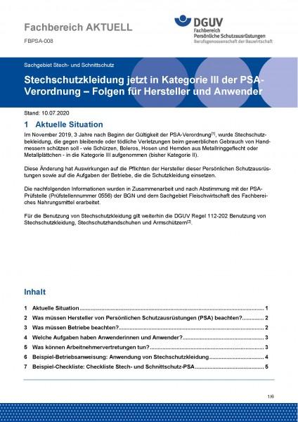"""FBPSA-008 """"Stechschutzkleidung jetzt in Kategorie III der PSA- Verordnung – Folgen für Hersteller un"""