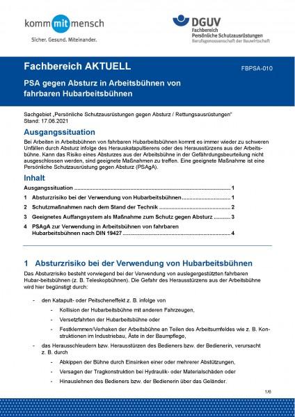 """FBPSA-010 """"PSA gegen Absturz in Arbeitsbühnen von fahrbaren Hubarbeitsbühnen"""""""
