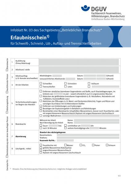 Erlaubnisschein für Schweiß-, Schneid-, Löt-, Auftau- und Trennschleifarbeiten - Infoblatt Nr. 03 de