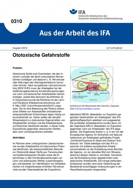 Ototoxische Gefahrstoffe. Aus der Arbeit des IFA Nr. 0310