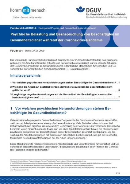 """FBGIB-004 """"Psychische Belastung und Beanspruchung von Beschäftigten im Gesundheitsdienst während der"""