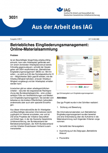Betriebliches Eingliederungsmanagement: Online-Materialsammlung. Aus der Arbeit des IAG Nr. 3031