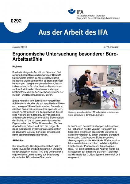 Ergonomische Untersuchung besonderer Büro-Arbeitsstühle. Aus der Arbeit des IFA Nr. 0292