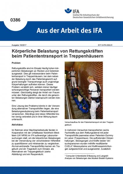 """Körperliche Belastung von Rettungskräften beim Patiententransport in Treppenhäusern (""""Aus der Arbeit"""