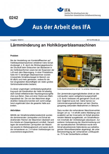 Lärmminderung an Hohlkörperblasmaschinen. Aus der Arbeit des IFA Nr. 0242