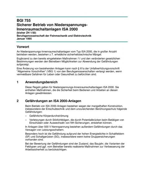 Sicherer Betrieb von Niederspannungs-Innenraumschaltanlagen ISA 2000